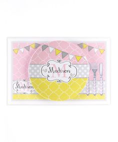 Take a look at this Pink & Yellow Flag Personalized Dining Set by Farmhousefive Art for Kids on #zulily today!