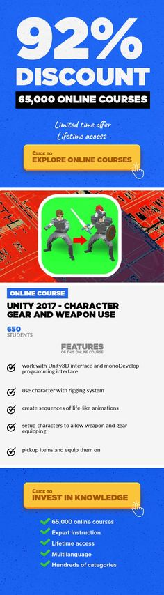 Unity 2017 - Character gear and weapon use Game Development, Development #onlinecourses #onlineuniversitytips #onlinecollegehacks  Complete video training on how to build a weapon and gear system to pickup items and equip them on characters. With code Important: all software used are FREE to download and use on PC and MAC computers (no need to pay, cheers!) In this course you will learn how to mak...