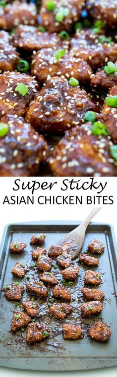 Super Sticky Asian Chicken Bites. Sticky, sweet and dripping with sauce! Serve…