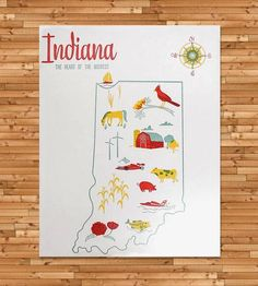 Vintage-Inspired Indiana Map Print by Paper Parasol Press on Scoutmob Shoppe