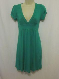 Forever 21 Dress Small Green Empire Waist Cap Sleeves Vneck Knee Length Knit  #FOREVER21 #EmpireWaist #WeartoWork