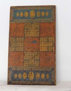 Extremely Rare 19th c. Original Painted Gameboard | From a unique collection of antique and modern game boards at http://www.1stdibs.com/furniture/folk-art/game-boards/