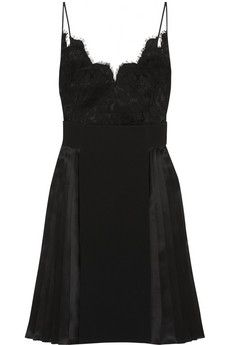 Givenchy Dress in black silk-satin, lace and crepe | NET-A-PORTER