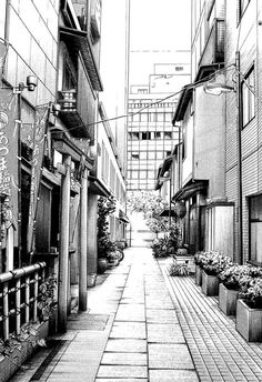 : Kiyohiko Azuma Urban Sketches Manga author Kiyohiko Azuma also creates beautiful black and white architectural drawings that show incredible detail. See more of his urban sketches. Perspective Drawing Lessons, Perspective Sketch, One Point Perspective, Cityscape Drawing, City Drawing, Landscape Drawings, Architecture Drawings, Architecture Details, City Sketch
