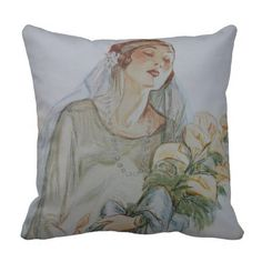 Art Deco Bride Throw Pillow   see on my site: www.zazzle.com/vintageanddeco*