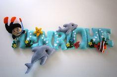 Los delfines y buzo nombre banner por MySweetfelt en Etsy, €45.00