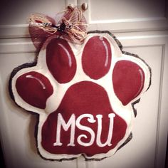 Mississippi State Burlap Paw Door Hanger, or any team