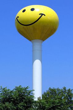 #Smiley Face Water Tower....  Atlanta, Illinois  #Travel Illinois USA multicityworldtravel.com We cover the world over 220 countries, 26 languages and 120 currencies Hotel and Flight deals.guarantee the best price