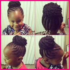 BUN / . LITTLE GIRL HAIRSTYLES / BRAIDS / PROTECTIVE HAIRSTYLE / HAIRSTYLES / KIDS / BOW  / CORNROLLS / HAIRDO / UPDO / GIRL / TWIST HAIRSTYLE / NATURAL HAIRSTYLE / BEADS
