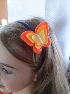 Butterfly headband blue peach or lilac felt by DusiCrafts on Etsy
