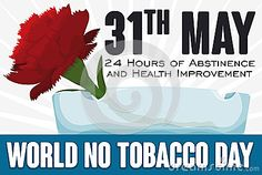 Banner with red carnation inside a crystal ashtray, greeting message and reminder date for World No Tobacco Day in May 31.
