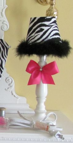 Elyse's Dream Room    Lamp HOT Pink Black White Zebra Light FUNKY Rock by SoZoeyBoutique, $18.90