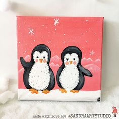 30% OFF  Penguin painting - Little Christmas painting - Acrylic painting on canvas 8 x 8 inch - Pretty Christmas decoration