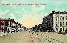 Hutchinson Kansas KS 1908 Main Street North First National Bank Vintage Postcard