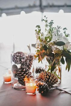 Earthy greens and pinecones make great decor when planning a rustic event