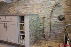 mud room dog washing stall | Like the tile, handheld, and glass