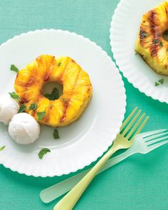 Grilled Pineapple, one of my summer faves!!!   Grilled Pineapple with Coconut Sorbet Recipe