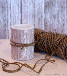 Knock-Off Pottery Barn Birch Pillar Candles Tutorial by @anightowlblog
