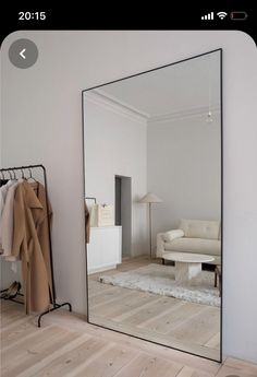 """I need a mirror this big 😍"" Home Room Design, Dream Home Design, Home Interior Design, Living Room Designs, Room Ideas Bedroom, Home Decor Bedroom, Ikea Bedroom Design, Minimalist Bedroom, Minimalist Home"