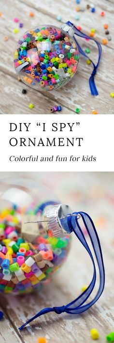 A game and a craft! This l I Spy Christmas Ornaments is great for kids to make this holiday season! Can be used to decorate the tree or give as gifts! #kidsChristmascrafts
