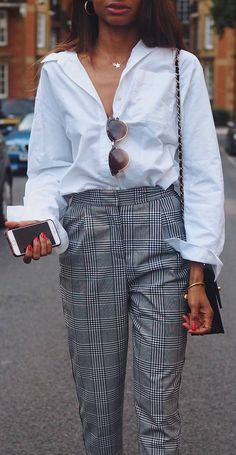 cute outfit idea : white shirt + bag + plaid pants #omgoutfitideas #streetfashion #womensfashion