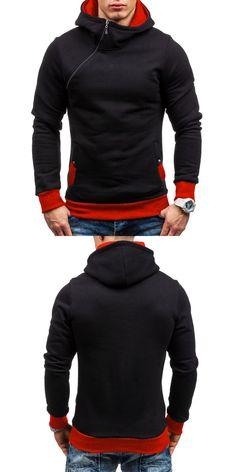 fad7e9b6f40 Men s Autumn Winter Color Block Slanted Zipper Hoodie Warm Hooded Sweatshirt