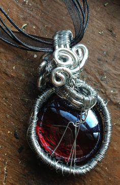 Red Glass Woven into Silver Frame Necklace with by Eldwenne, $45.00