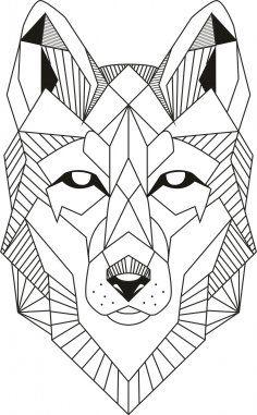 Wolf - Land of Tattoos Geometric Art, Wall Stickers Vector, Geometric Wolf Tattoo, Geometric Art Animal, Line Art Drawings, Art Drawings, Geometric Drawing, Geometric Wolf, Art