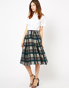 ASOS Midi Skirt in Brushed Check