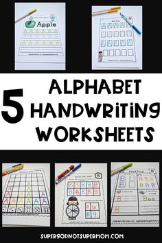 Looking for ways to help your preschool and kindergarten student to practice handwriting? This alphabet handwriting packet is perfect for you! It features 5 different worksheets for each letter of the alphabet. This works perfectly for letter of the week programs by providing one worksheet for each day of the week. Worksheets progress in difficulty from tracing letters to independently writing letters. Click through to see a preview of each worksheet! #handwriting #preschool #kindergarten