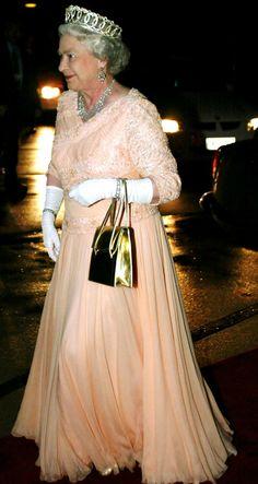 Queen Elizabeth  -- looking great in peach gown.