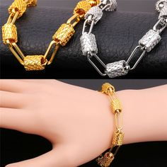 Unique Oval Fashion Resizable Bracelet For Women Two Colors 18K Gold/Platinum Plated