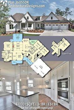 Architectural Designs Craftsman House Plan 36055DK has 3+ BR | 3.5+ BA | 3,000+ Sq.Ft.