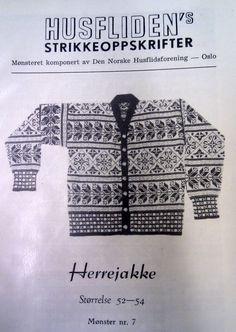 Herrejakke, nr 7 Uttegnet etter Selbumønster i 1923 av Arthur Gustavsen. Vintage Knitting, Free Knitting, Embroidery Patterns, Knitting Patterns, Norwegian Knitting, Tapestry Weaving, New Hobbies, Bunt, Norway