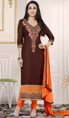 Appear pretty as Karisma Kapoor dressed in this brown color cotton churidar suit. This enticing dress is displaying some fantastic embroidery done with lace and resham work.  #karismakapoordresses #bollywoodactresssuits #straightlongsuit