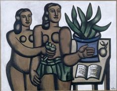 The two women in blue vase - Fernand Léger