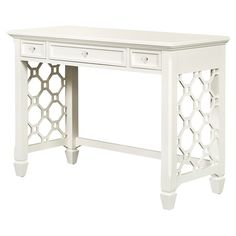 White writing desk with three drawers and octagonal latticing. Product: Desk Construction Material: Wood