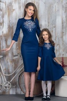 Denim dress with embroidery for mom. New Collection Vilenna Spring 2016 ❤ Mother Daughter Matching Outfits, Mother Daughter Fashion, Dress Outfits, Fashion Dresses, Denim Dresses, Embroidered Clothes, Embroidery Dress, Winter Dresses, Dress Winter