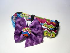 Easter Egg Chevron Dog Collar size Small by jeanamichelle on Etsy, $12.50
