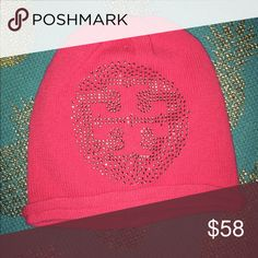 Authentic Tory Burch pink beanie Wool and cashmere, never been worn. A couple of the jewels are missing but you can't really tell. Super cute and soft! Tory Burch Accessories Hats