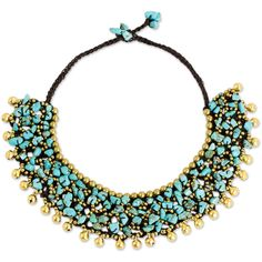 NOVICA Collar Style Necklace with Blue Calcite and Brass Beads ($48) ❤ liked on Polyvore featuring jewelry, necklaces, colar, blue, statement, braided necklace, collar jewelry, collar necklace, polish jewelry and cluster necklace