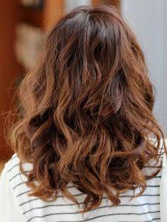 Wavy Perm, Wavy Hair, Digital Perm Short Hair, Medium Hair Styles, Curly Hair Styles, Hair Color And Cut, Asian Hair, Permed Hairstyles, Hair Images