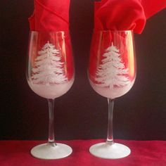 Handpainted Christmas wine glasses set of four by TivoliGardens ...
