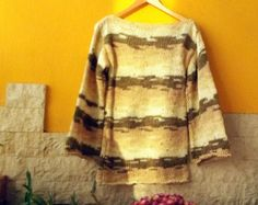 Brown Cozy Pullover Hand Knit Sweater Loose Knit Pullover in Brown Beige and Ecru