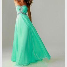 Mint color long dress