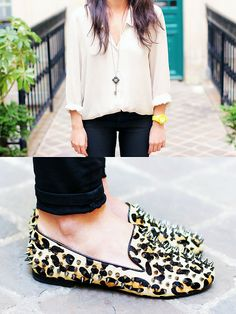 Leo x Studs x Loafers (by Lydia Marceau) http://lookbook.nu/look/3618799-Leo-x-Studs-x-Loafers