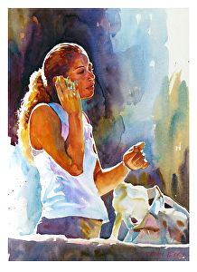 """Chatting in the sun by Graham Berry Watercolor ~ 17"""" x 12"""""""