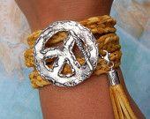 Boho Jewelry, Boho Leather Wrap Bracelet, Bohemian Chic Fashion, Sterling Silver Peace Sign Wrap Bracelet, Boho Leather Triple Wrap Bracelet
