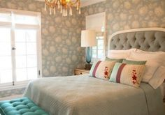 I love the look of a tufted headboard. Especially this soft gray one!
