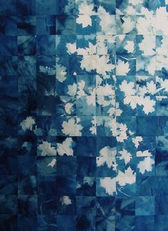herminehesse:  Pieced leaves quilt- would like to try this with the squares I made last year.... used a splatter/spray/stencil with bleach technique would it flow like this?